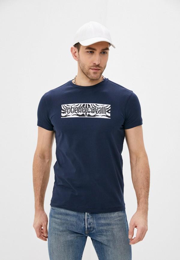 мужская футболка roberto cavalli, синяя
