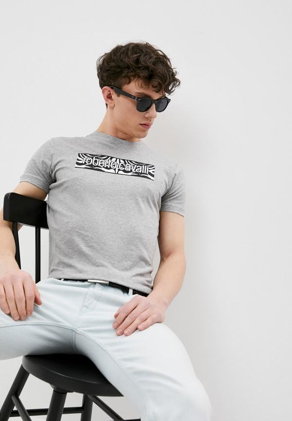 мужская футболка roberto cavalli, серая