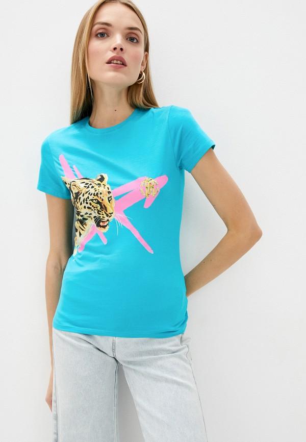 женская футболка roberto cavalli, голубая