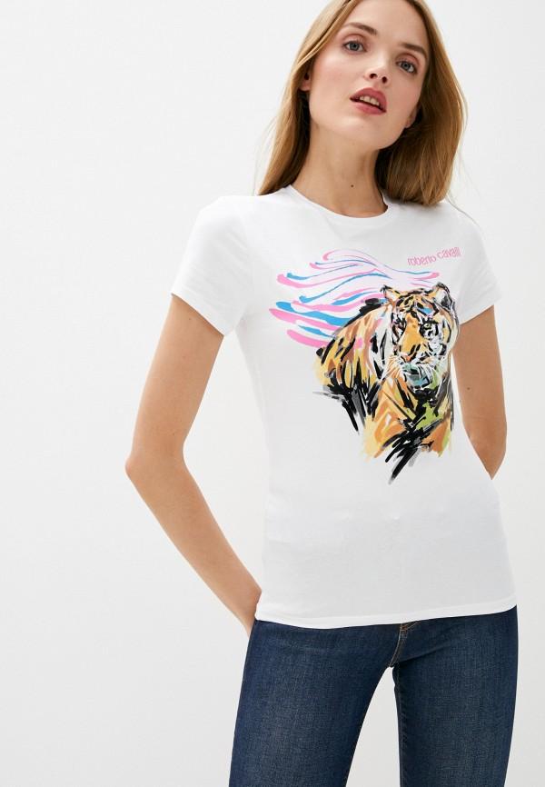 женская футболка roberto cavalli, белая