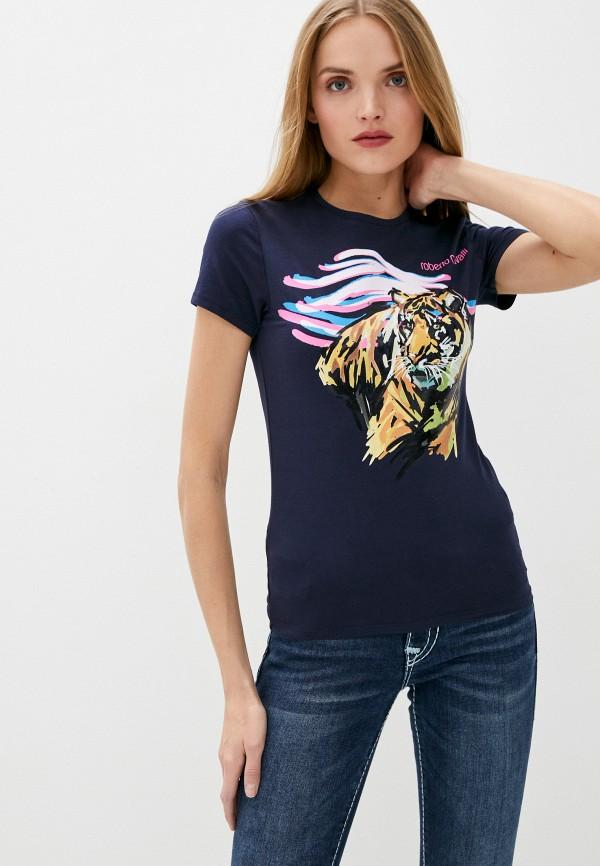 женская футболка roberto cavalli, синяя