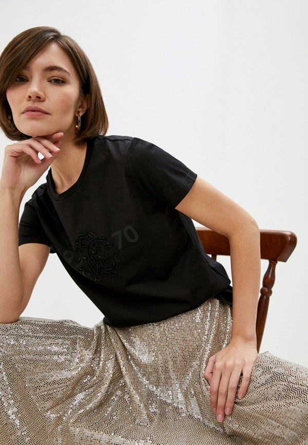 женская футболка roberto cavalli, черная