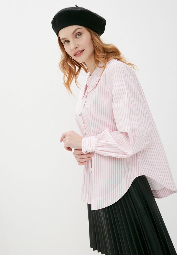 женская рубашка с длинным рукавом mbym, розовая