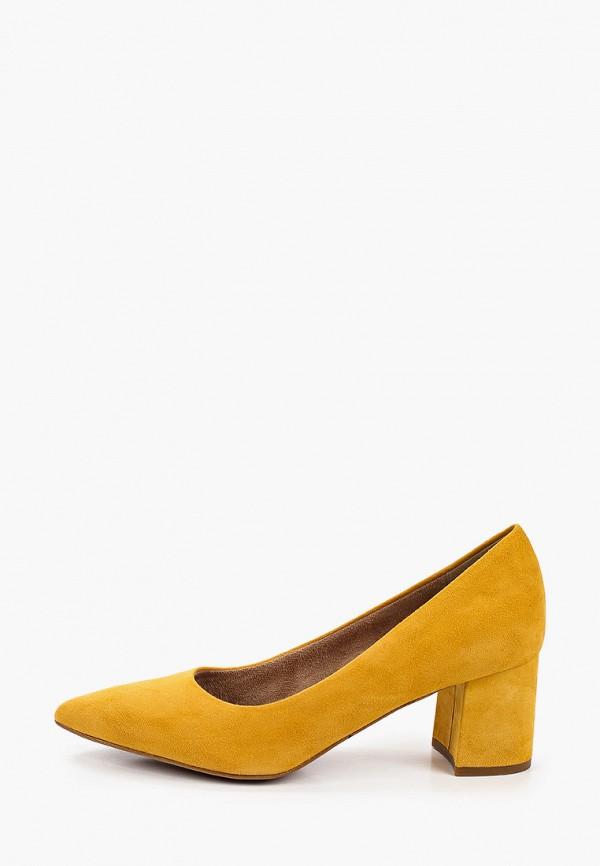 женские туфли с закрытым носом tamaris, желтые