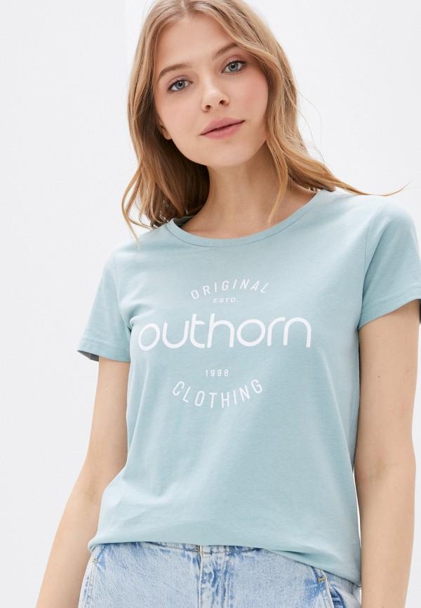 женская спортивные футболка outhorn, голубая