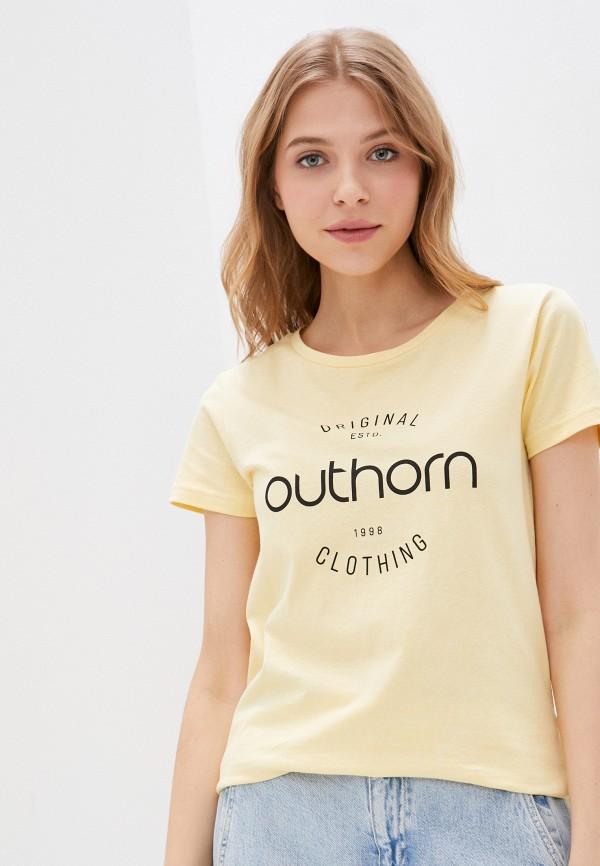 женская спортивные футболка outhorn, желтая