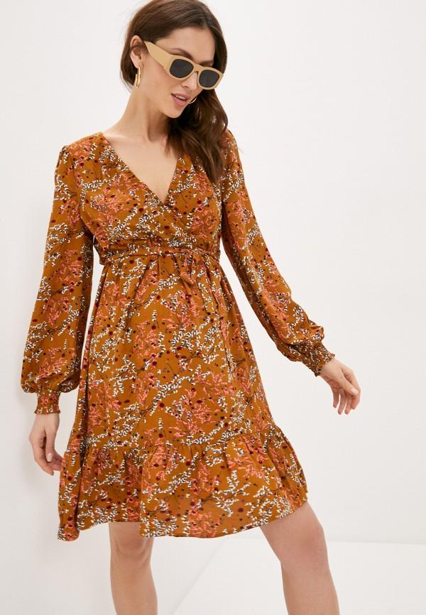 женское повседневные платье mamalicious, коричневое