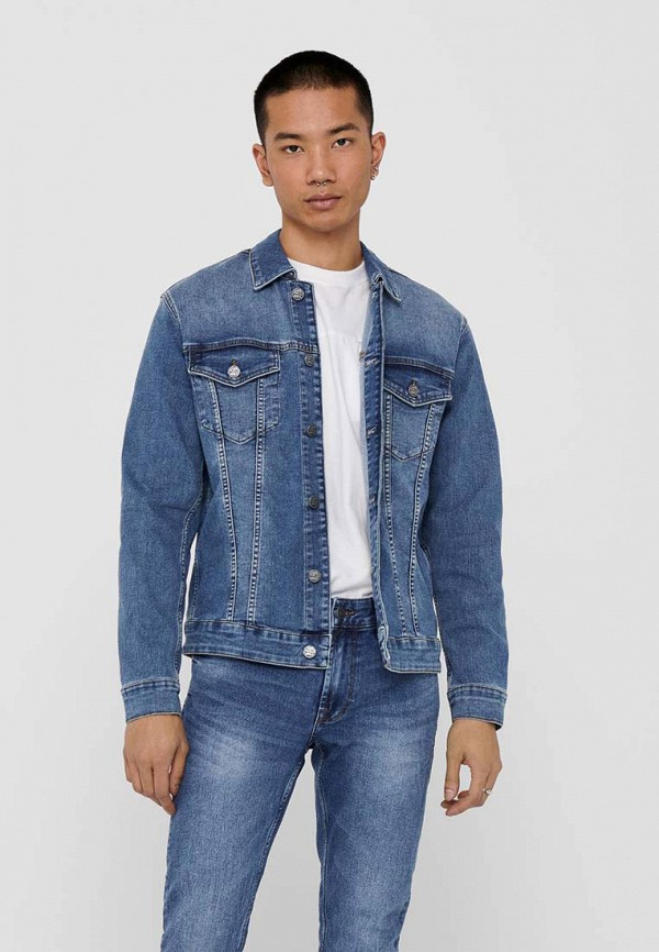 мужская джинсовые куртка only & sons, синяя