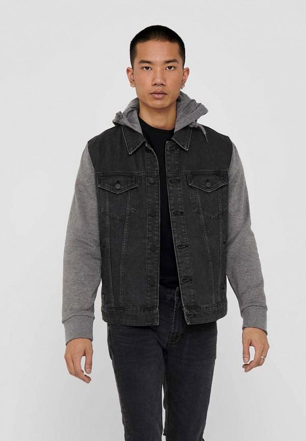 мужская джинсовые куртка only & sons, серая