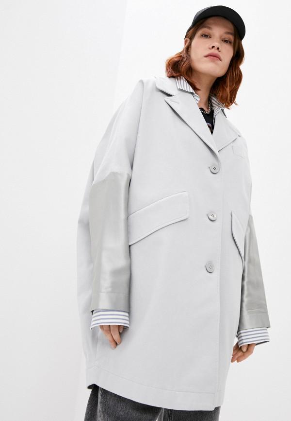 женское пальто mm6 maison margiela, серое