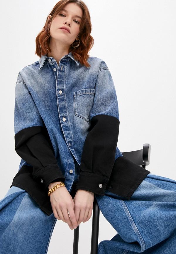 женская джинсовые рубашка mm6 maison margiela, синяя