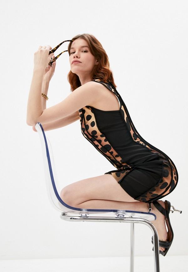 женское платье-футляр just cavalli, коричневое