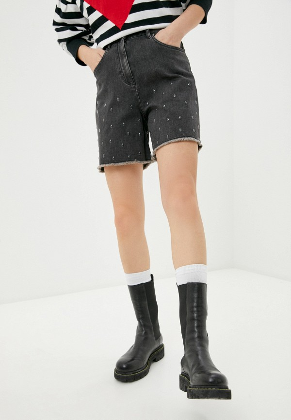 женские джинсовые шорты love moschino, серые