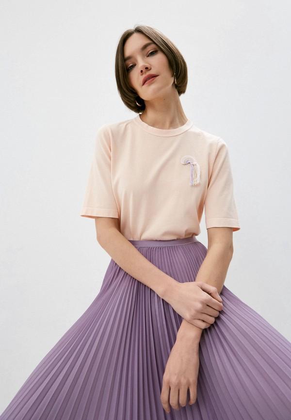 женская футболка forte forte, розовая