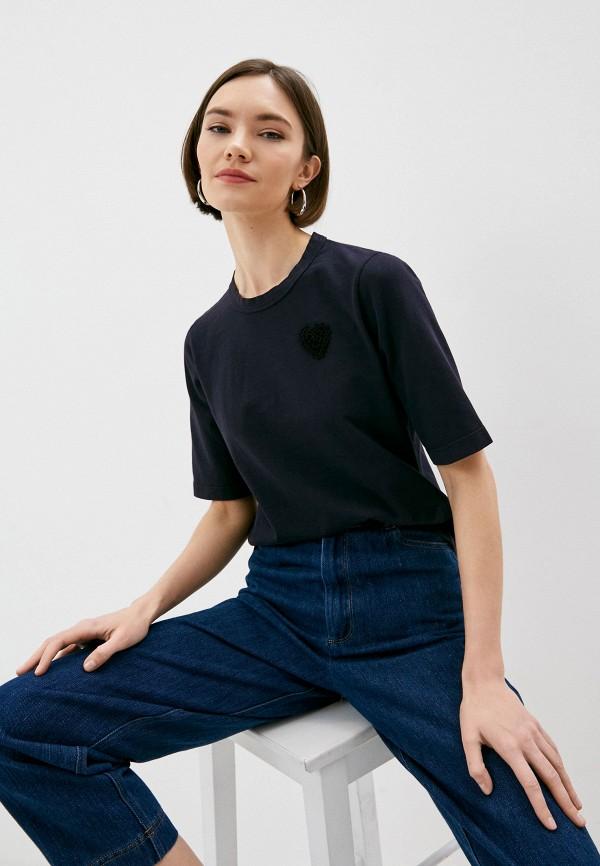 женская футболка forte forte, синяя