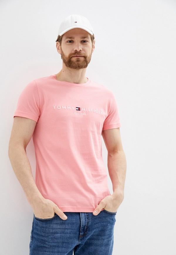 мужская футболка с коротким рукавом tommy hilfiger, розовая