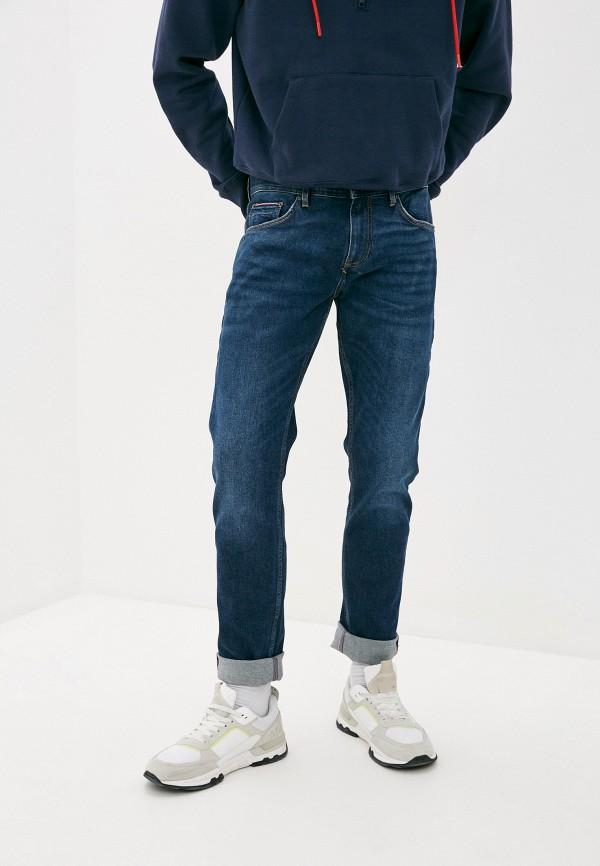 мужские зауженные джинсы tommy hilfiger, синие