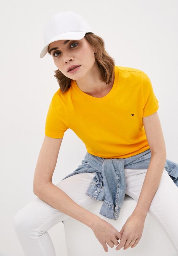 женская футболка tommy hilfiger, желтая