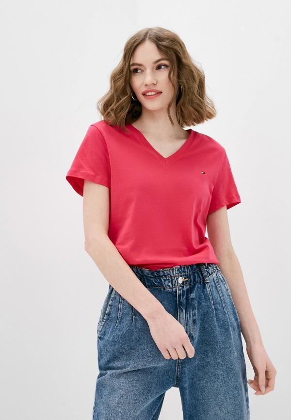 женская футболка tommy hilfiger, розовая