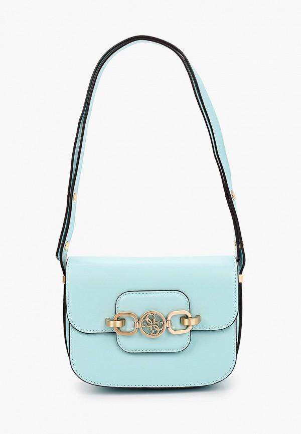 женская сумка через плечо guess, бирюзовая