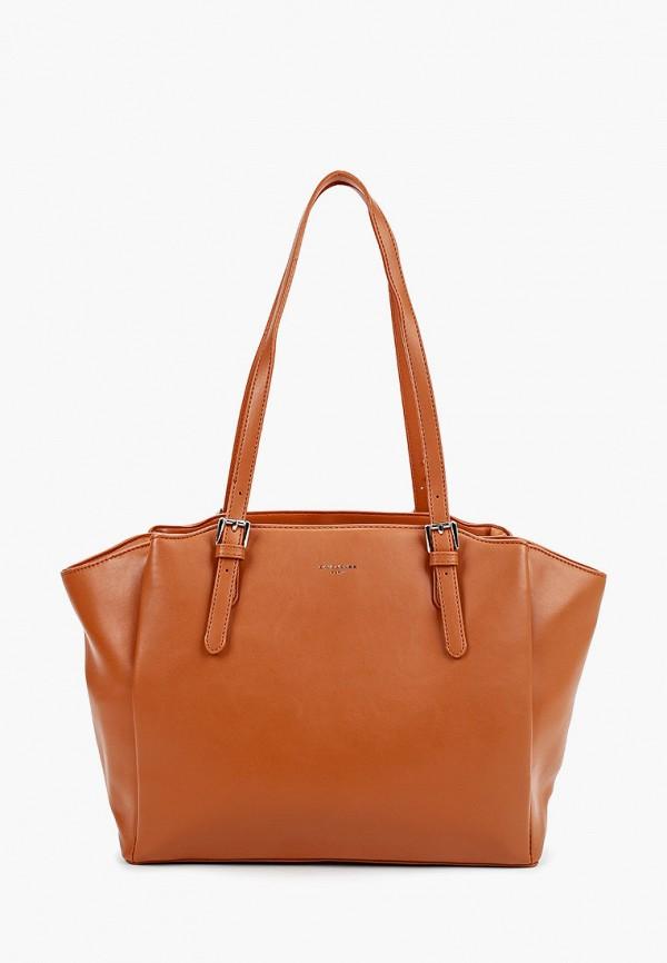 женская сумка-шоперы david jones, коричневая