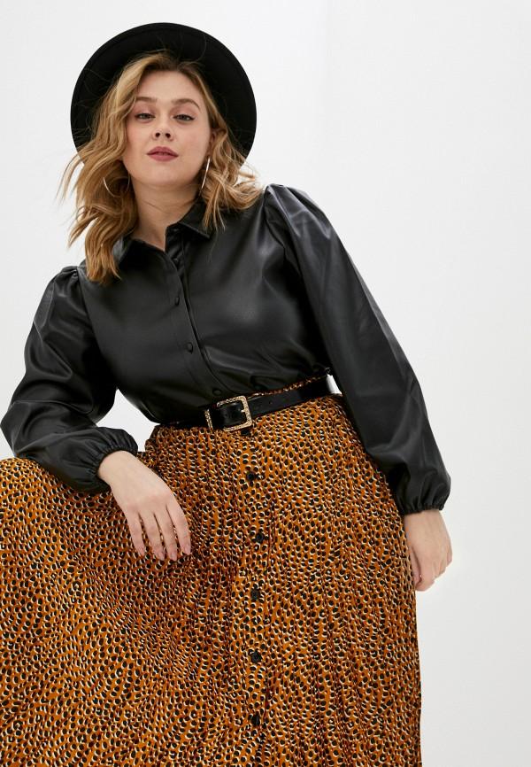 женская рубашка с длинным рукавом vero moda curve, черная