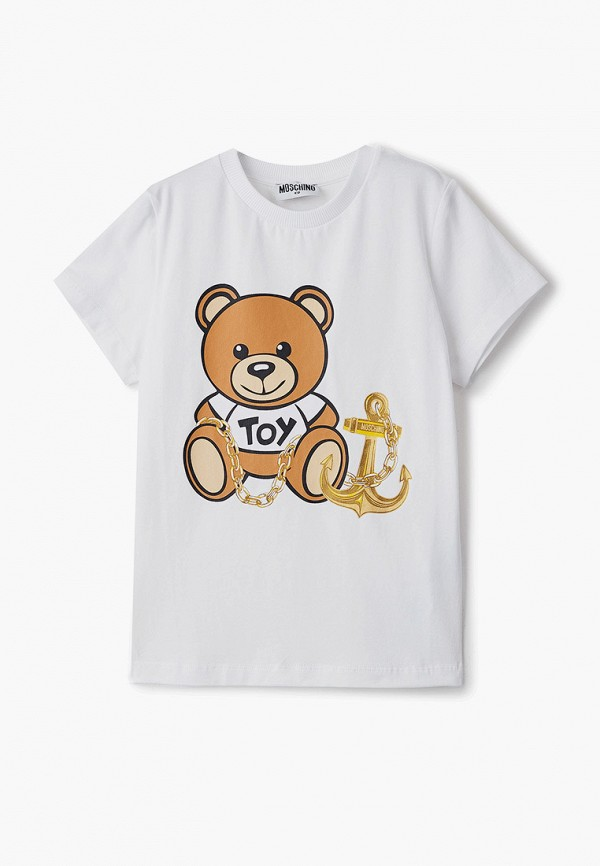 футболка с коротким рукавом moschino kid для девочки, белая