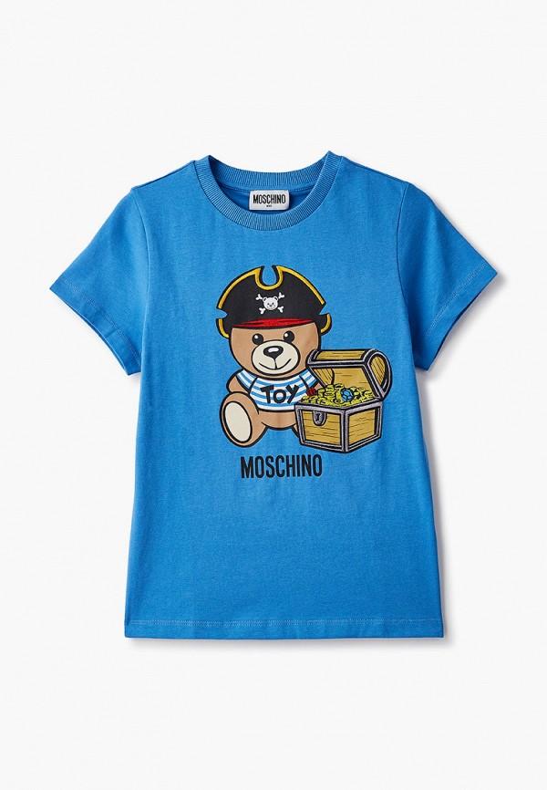 футболка с коротким рукавом moschino kid для мальчика, синяя