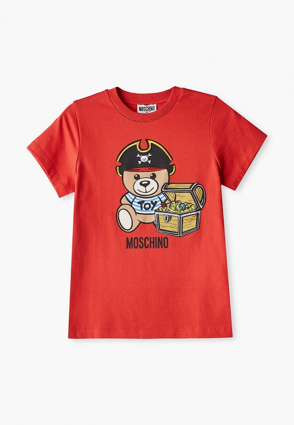 футболка с коротким рукавом moschino kid для мальчика, красная