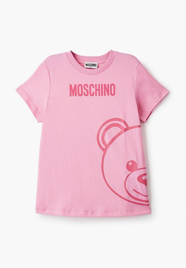 футболка с коротким рукавом moschino kid для девочки, розовая