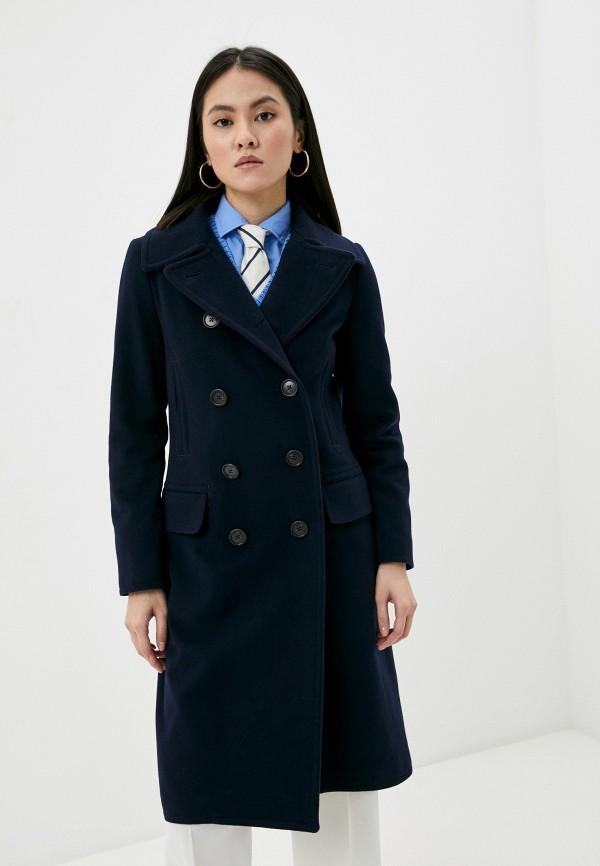 женское двубортные пальто polo ralph lauren, синее