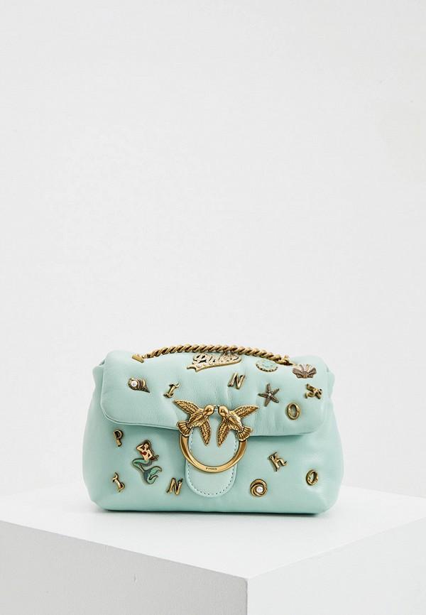 женская сумка через плечо pinko, бирюзовая