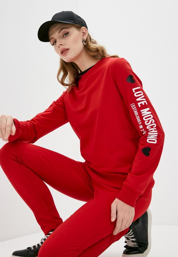 женский свитшот love moschino, красный