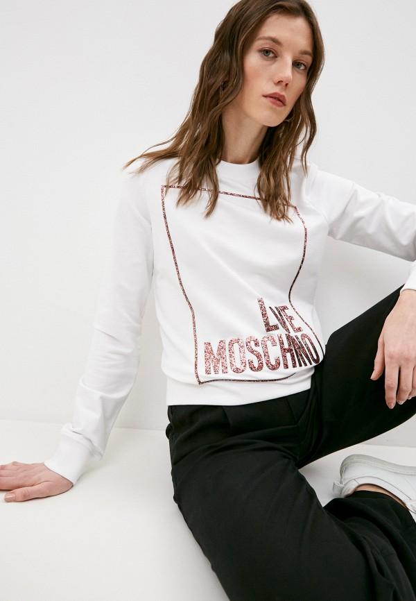 женский свитшот love moschino, белый