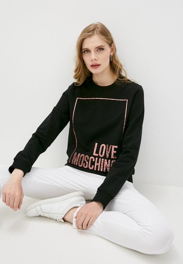 женский свитшот love moschino, черный