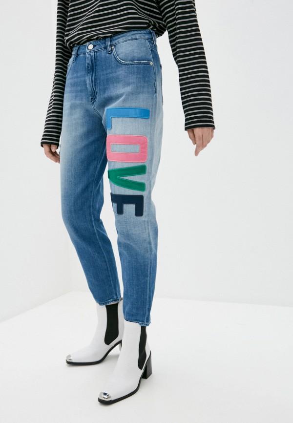 женские джинсы бойфренд love moschino, голубые