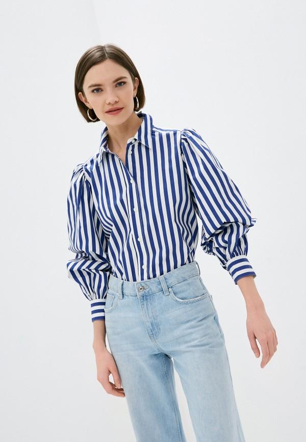 женская рубашка с длинным рукавом part two, синяя