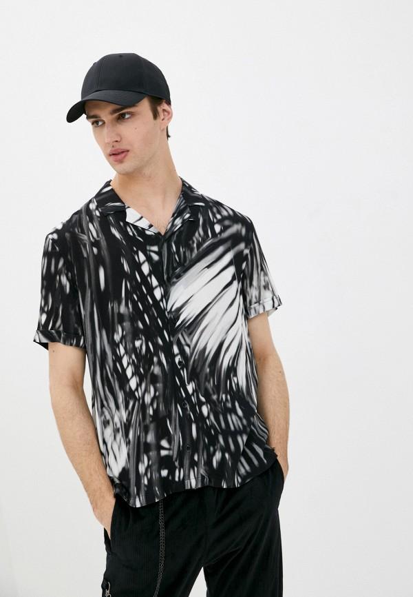 мужская рубашка с коротким рукавом desigual, черная