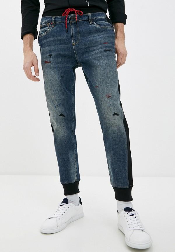 мужские зауженные джинсы desigual, голубые