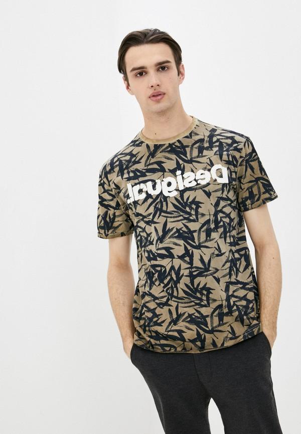 мужская футболка с коротким рукавом desigual, коричневая