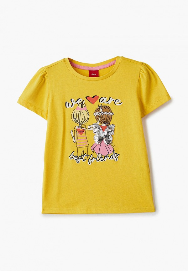 футболка с коротким рукавом s.oliver для девочки, желтая