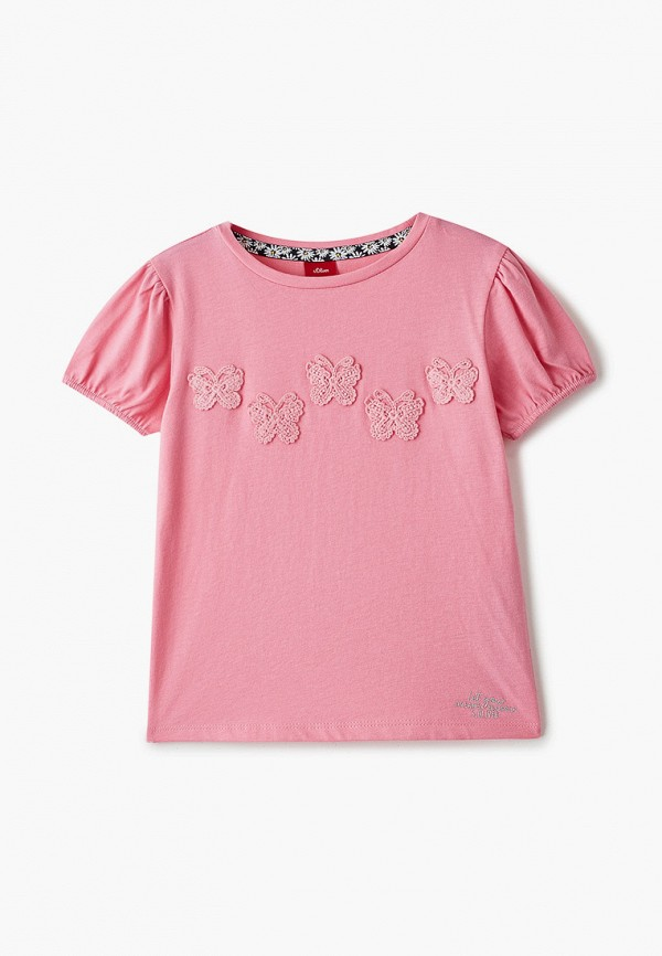футболка с коротким рукавом s.oliver для девочки, розовая