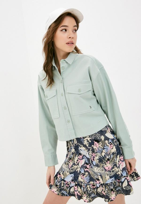 женская рубашка с длинным рукавом q/s designed by, бирюзовая