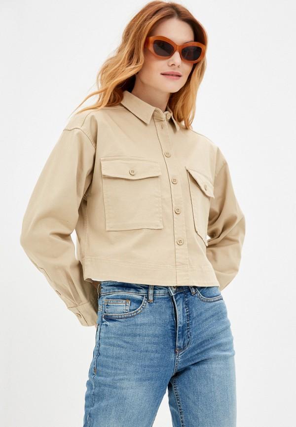 женская рубашка с длинным рукавом q/s designed by, бежевая