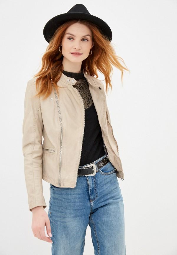женская кожаные куртка q/s designed by, бежевая