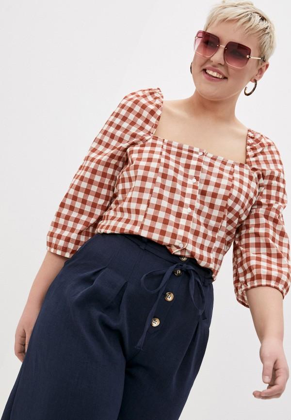 женская блузка vero moda curve, коричневая
