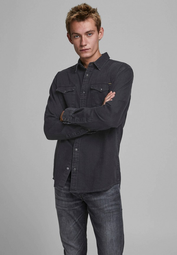 мужская джинсовые рубашка jack & jones, черная
