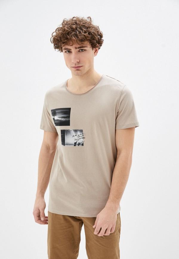 мужская футболка с коротким рукавом jack & jones, бежевая