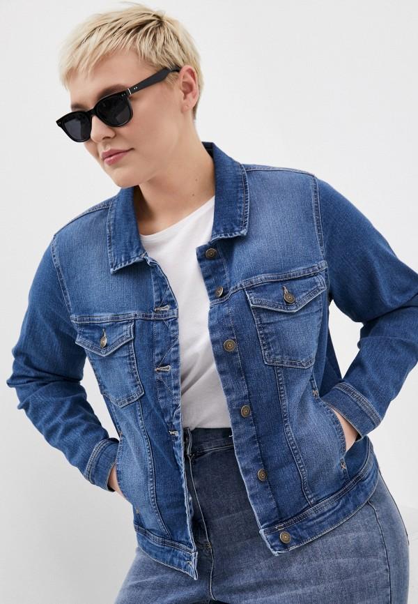 женская джинсовые куртка only carmakoma, синяя