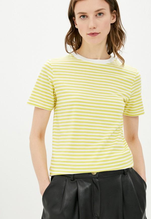 женская футболка selected femme, желтая